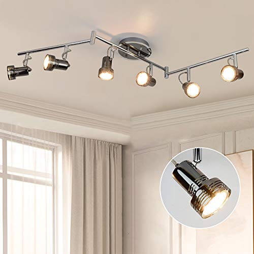 LED Deckenstrahler Schwenkbar, 6 Flammig LED Deckenlampe Drehbar, 6 x 3W GU10 LED Leuchtmittel, 1440LM 3000K Warmweiß, Deckenleuchte LED Deckenspot für Wohnzimmer Küche, Schlafzimmer, Büro