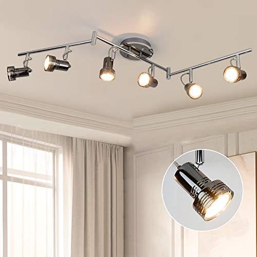 DLLT LED Deckenstrahler Schwenkbar, 6 Flammig LED Deckenlampe Drehbar, 6 x 3W GU10 LED Leuchtmittel, 1440LM 3000K Warmweiß, Deckenleuchte LED Deckenspot für Wohnzimmer Küche, Schlafzimmer, Büro