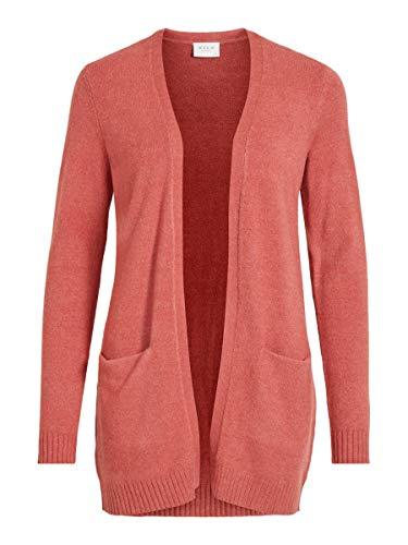 Vila Damen Viril L/S Open Knit Cardigan-noos Strickjacke, Dusty Cedar/Detail:MELANGE, L