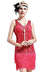 Red Gatsby Style Flapper Girl Gown
