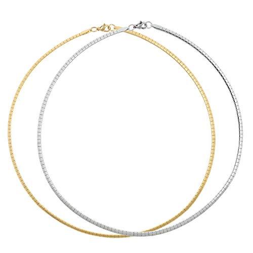 2 PCS Stainless Steel Omega Necklace Flat Snake Chain Choker for Girls Women