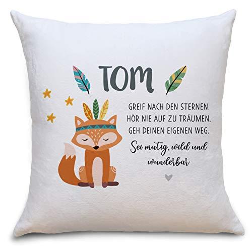 Fuchs Boho Flauschiges Kissen mit Füllung Personalisiert mit Namen Geschenke Geschenkideen für Geschwister zum Geburtstag Geburt Baby Junge Mädchen