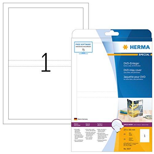 HERMA 5037 CD DVD Einleger für Jewel Case Hüllen DIN A4 (273 x 183 mm, 25 Blatt, Karton) perforiert, bedruckbar, nicht klebende Papier-Cover, 25 Inlays, weiß