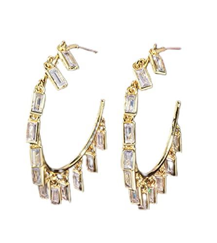 Pendientes de aro de oro con circonita cúbica y brillantes colgantes rectangulares para mujeres, mujeres y niñas