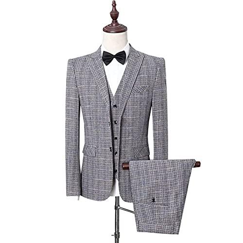 ZZABC (Traje + chaleco + pantalones) traje de tres piezas de negocios de cultivo profesional trajes profesionales para hombre (Gray : Gray two, Size : XL 63-67kg)