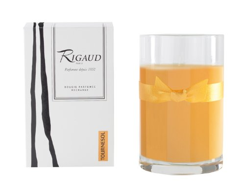 Rigaud Paris, Tournesol Large Candle Recharge (Refill) Bougie D'ambiance Parfumee, Grand Modele Recharge in Glass, Sunflower Yellow, 4.5 Inches Tall, 90 Hours Burn Life