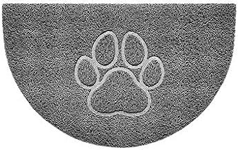 Nicoman Embossed Halfmoon Half Circle Door Mat Dirt-Trapper Jet-Washable Doormat 70x44cm (Grey, PAW Shape) - Use Indoor or...