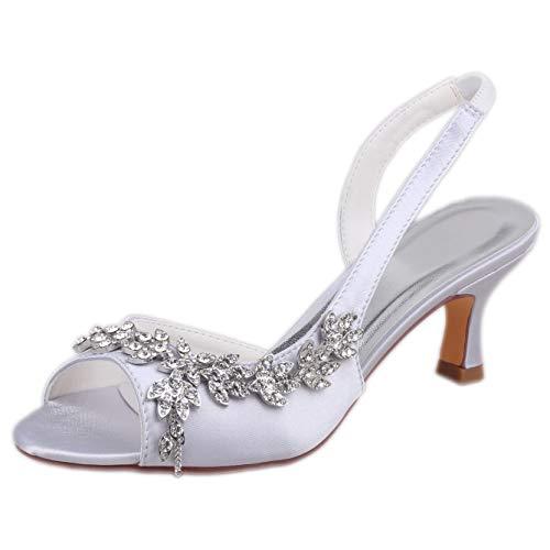 Emily Bridal Hochzeitsschuhe Peep Toe Perlen Strass Brautschuhe Damen High Heels (EU38, Silber)