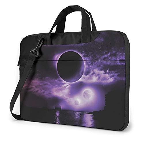 15.6″Lightweight Laptop Notebook Shoulder Backpack Bag 3D Dark Moon Waterproof PC Briefcase Messenger with Strap