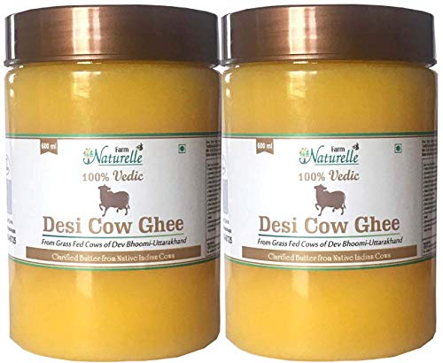 Desi Cow Ghee - 100% Pure From A2 Milk - 600 ML each (Pack of 2)