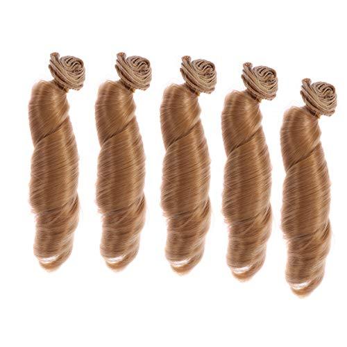 SUPVOX 5 stücke Puppe Machen Haar perücke DIY kunsthaarverlängerung für Puppe Handwerk (braun)