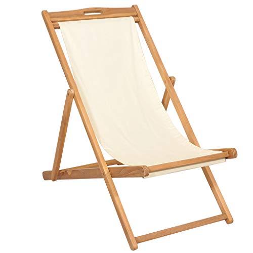 vidaXL Teak Liegestuhl Klappbar Sonnenliege Strandliege Gartenliege Strandstuhl Faltliege Campingstuhl Klappstuhl 56x105x96cm Creme