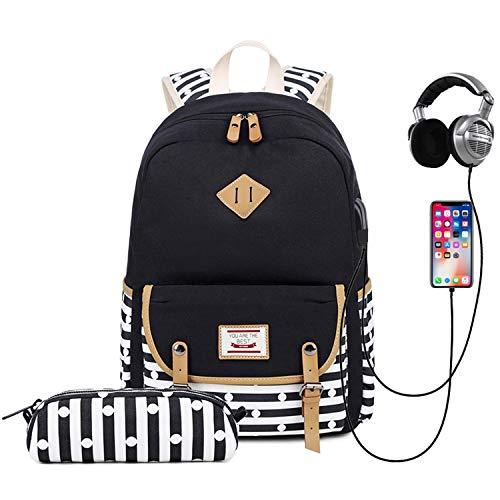 Schulrucksack Mädchen Teenager,Travistar Rucksack Schule mit Federmäppchen,USB-Anschluss und Kopfhöreranschluss,für 14-Zoll-Laptop