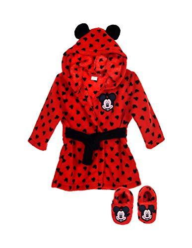 Mickey Coffret Robe de Chambre et Chaussons bébé Rouge et Bleu de 9 à 24mois - Rouge, 9/12 Mois