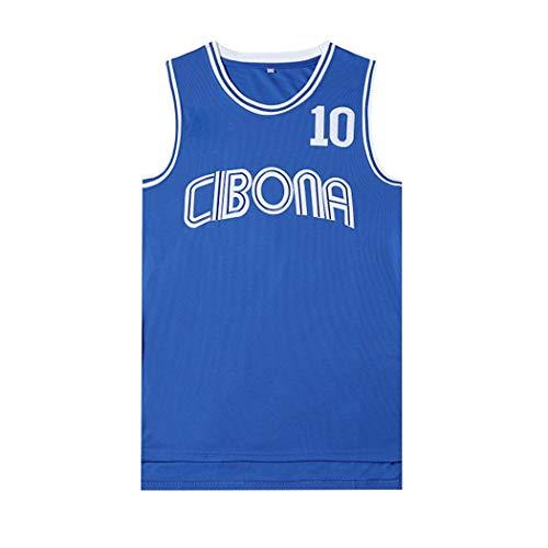 Los Hombres de Baloncesto Jersey Petrovic Cibona # 10, Película Versión de los Uniformes de Baloncesto, Unisex Camiseta sin Mangas, (Color : Blue, Size : XL)