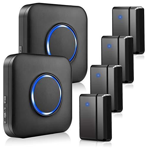 BITIWEND Door Chime, Wireless Door Alarm Contact Sensor Doobell with 600ft Range 58 Chimes Adjustable Volume Mute Mode LED Indicators 2 Plug-in Receiver 4 Door Sensors for Office/Home/Store