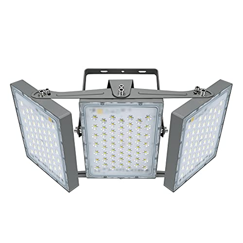300W LED-Sicherheitslicht, 27000LM Superhell LED Fluter Flutlicht Außenstrahler, IP65 Wasserfest, 5000K Tageslicht, 3 Flutlicht mit verstellbarem Kopf unter, für Garage, Scheune, Patio, Hof.