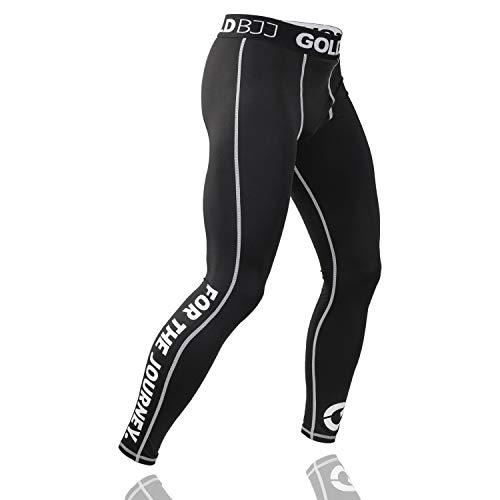 Gold BJJ Jiu Jitsu Spats - Base Layer for Gi and No-Gi Grappling - Martial Arts Pants (Large) Black