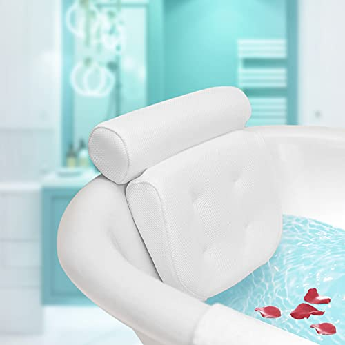 Essort Bath Pillow Spa Bathtub Pillow with 4 Suction Cups, Head, Neck, Back and Shoulder Support Bath Pillows for Hot Tub, Jacuzzi, Home Spa White