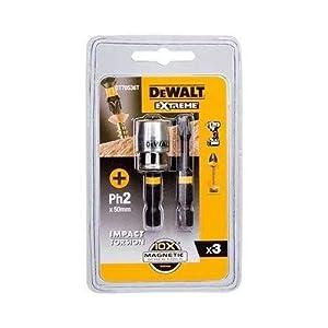 Dewalt DT70536T-QZ Puntas Ph2 x 2 50 mm adaptador magnético con bloqueo, Negro y amarillo