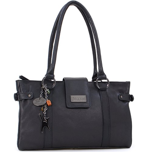 Catwalk Collection Handbags Damen Schultertasche, schwarz, M