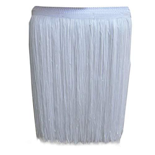 Yalulu 10 Meter Länge 30cm Breite Quaste Schnittfranse Fransen Geschnitten Fransenborte DIY Trimmen Kostüm Lateinisches Kleid Garment Apparel Spitzenborte Nähzubehör (Weiß)