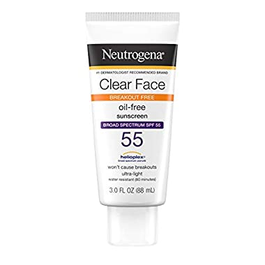 Neutrogena Clear Face Liquid Lotion Sunscreen for Acne-Prone Skin, Broad Spectrum SPF 55 with Helioplex Technology, Oil…