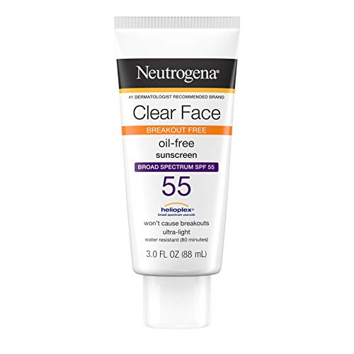 Neutrogena Clear Face Liquid Lotion Sunscreen for Acne-Prone Skin, Broad Spectrum SPF 55 with Helioplex Technology, Oil-Free, Fragrance-Free & Non-Comedogenic, 3 Fl Ounce