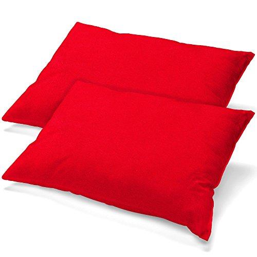 aqua-textil Classic Line Housse de Coussin Lot de 2 Fermeture Éclair Coton 40 x 80 cm Rouge Rubis