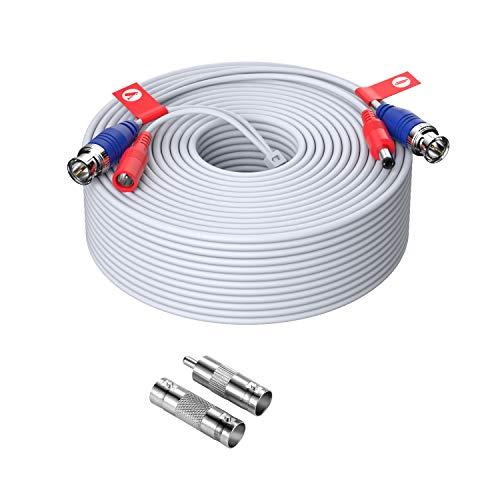 ZOSI 45 Metros Video Cable BNC para 4K/5MP/1080P DVR Kit Sistema de Cámara de Vigilancia Seguridad, Conector BNC a RCA, Blanco