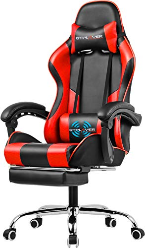 GTPLAYER Gaming Chair with Footrest Ergonomic Massage Office Chair Adjustable Swivel Leather High Back Computer Desk Chair with Headrest and Massager Lumbar Support Red