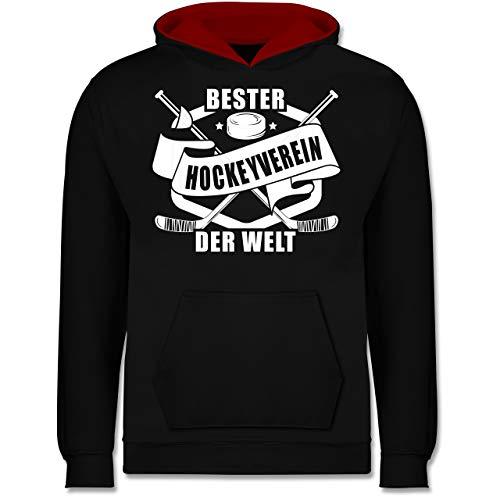 Sport Kind - Bester Hockey Verein der Welt Banner - 140 (9/11 Jahre) - Schwarz/Rot - Fun - JH003K - Kinder Kontrast Hoodie