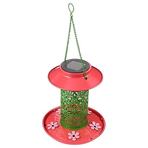 YARNOW Solar Licht Vogel Feeder Hängen Solar Kolibri Feeder Führte Eichhörnchen-Sichere Fütterungsstation Lebensmittelbehälter für Garten Garten Balkon Hinterhof