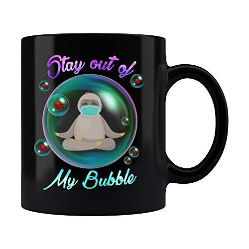 Stay Out Of My Bubble Sloth Yoga Coronavirus Coffee Mug,Funny Sloth Wearing Mask Social Distancing Ceramic Coffee Mug 11oz 15oz