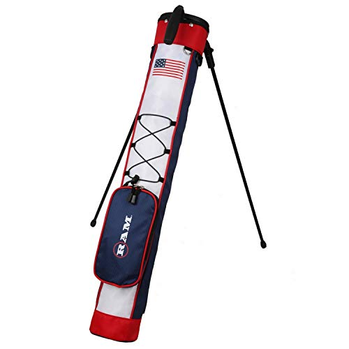 Ram Golf Pitch and Putt Lightweight Golf Carry Bag with Stand USA Flag