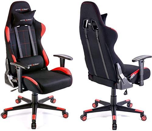 Gtracingゲーミングチェアメッシュ多機能通気性ゲーム用チェアオフィスチェアパソコンチェアリクライニング事務椅子ヘッドレストランバーサポートひじ掛け付きGTBEE-RED