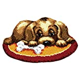 Adoture Animal Pattern Carpet Cushion Latch Hook Kits with Basic Tools DIY Home Ornaments,Making Latch Hooking Kit,Dog Latch Hook Kits(Needlework Unfinished Rug,1 set)