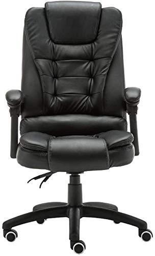 CHHD Bürostuhl, Sessel Stuhl Bürostuhl Boss Stuhl Haushalt Bequemes Lendenpolster Kurve Armlehne Schwammkissen Lagergewicht 250kg Schwarz