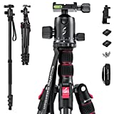 """SmallRig Selection Lightweight 78"""" Aluminum Camera Tripod Monopod, Foldable DSLR Tripod for Travel, w/ 360 Degree Ball Head Quick Release Plate, Max. Payload 33lb, Adjustable Height from 18.5"""" to 78"""""""