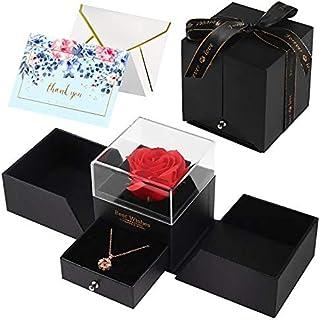 Minterest Artificielle Rose stabilisée, Cadeau Femme avec Strass Tournesol Carte de vœux idées Cadeau Femme Cadeau Anniver...