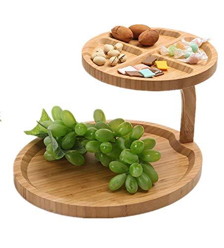 JasCherry -Bandejas para tartas de Bambú de 2 Niveles, Creativo Plato Doble para Frutas Plato para Dulces té de la Tarde Vajilla Soporte para Tartas, Bambú Natural