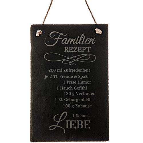 Spruchreif PREMIUM QUALITÄT 100% EMOTIONAL · Schiefer Tafel mit Gravur Rezepte · Türschild · Schieferschild mit Juteband · Dekoschild aus Schiefer zum Aufhängen (Familienrezept)