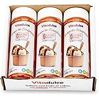 Sirope de caramelo sin azúcar, Sirope bajo en calorías, Topping de caramelo 400 gr. Pack de 3 unidades - Vitadulce