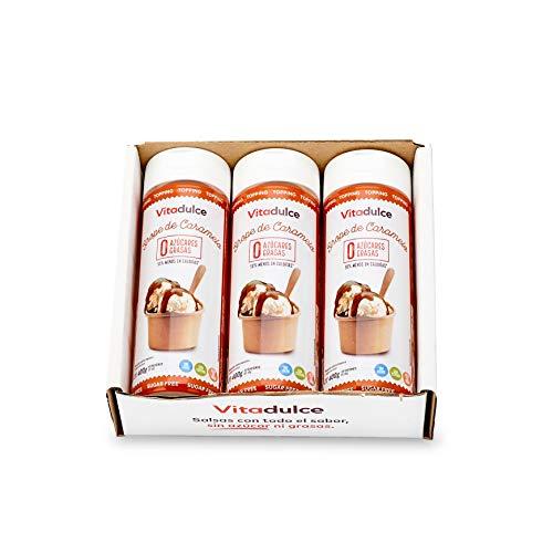 Karamellsirup ohne Zucker, kalorienarmer Sirup, Karamelltopping 400gr. Pack 3 - Vitadulce.