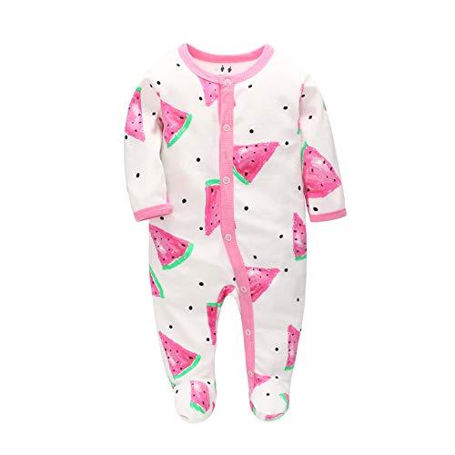 Baby Schlafanzug Schlafstrampler Schlafsack Gr. 56 62 68 Baumwolle mit Füßen mit knöpfen für Junge Mädchen Neugborene 0-6 Monate (Wassermelone, 56)