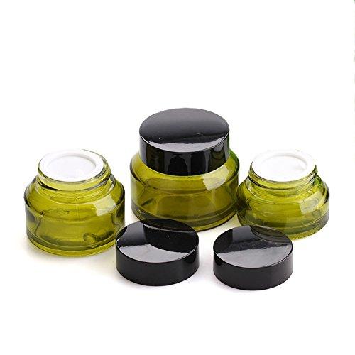 Wilotick Tarro de cristal verde de 15 g/30 g/50 g de cosméticos...