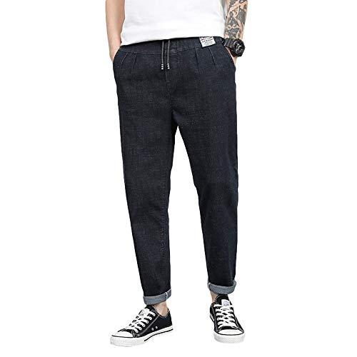 Beastle Pantalones Vaqueros para Hombre Tendencia de Primavera Pantalones Harem Sueltos Pantalones de Mezclilla de Cintura elástica con cordón de Todo fósforo Informal 36
