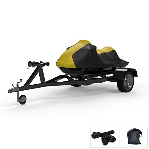 Weatherproof Jet Ski Covers for Yamaha Wave Runner VX 2015-2019 - Yellow/Black Color - All Weather - Trailerable - Protects from Rain, Sun, UV Rays, and More! Includes Trailer Straps and Storage Bag