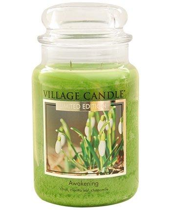 Village Candle Erwachen große Duftkerze im Glas, 737 g, grün, 9.8 x 9.5 cm