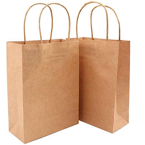 Panngu 25 Stück braune Kraftpapiertüte, 23 * 8 * 17 Geschenktüte mit Griff, Recycelbar Und Wiederverwendbar Tragetasche Papiertüte - zum Basteln, Partytüten, Einkaufstasche, Verzieren und Verschenken